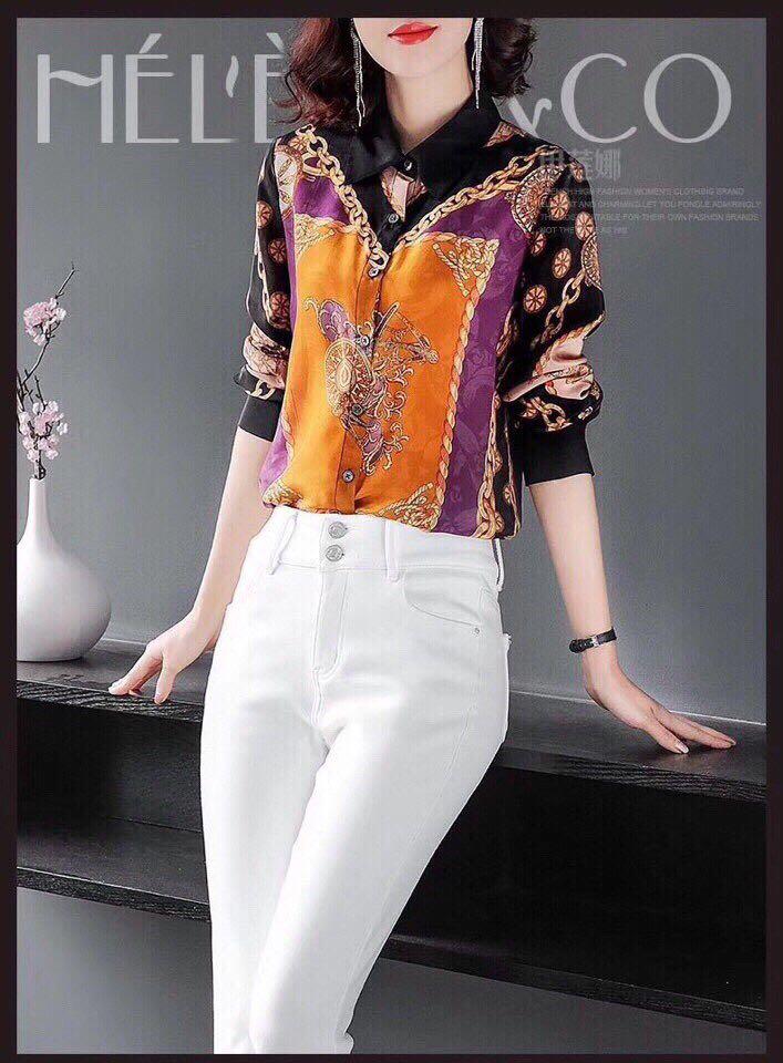 Chemises D02379 Femmes Style 2019 amp; Européenne Luxe Piste Marque Célèbre Design Mode Blouses Vêtements De Partie 5wZqf
