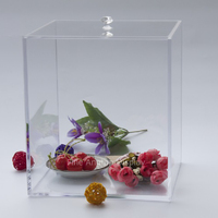 Beauty Clear Acrylic Cube Makeup Jewelry Holder Display Box With Removable Cover 15x15x15cm