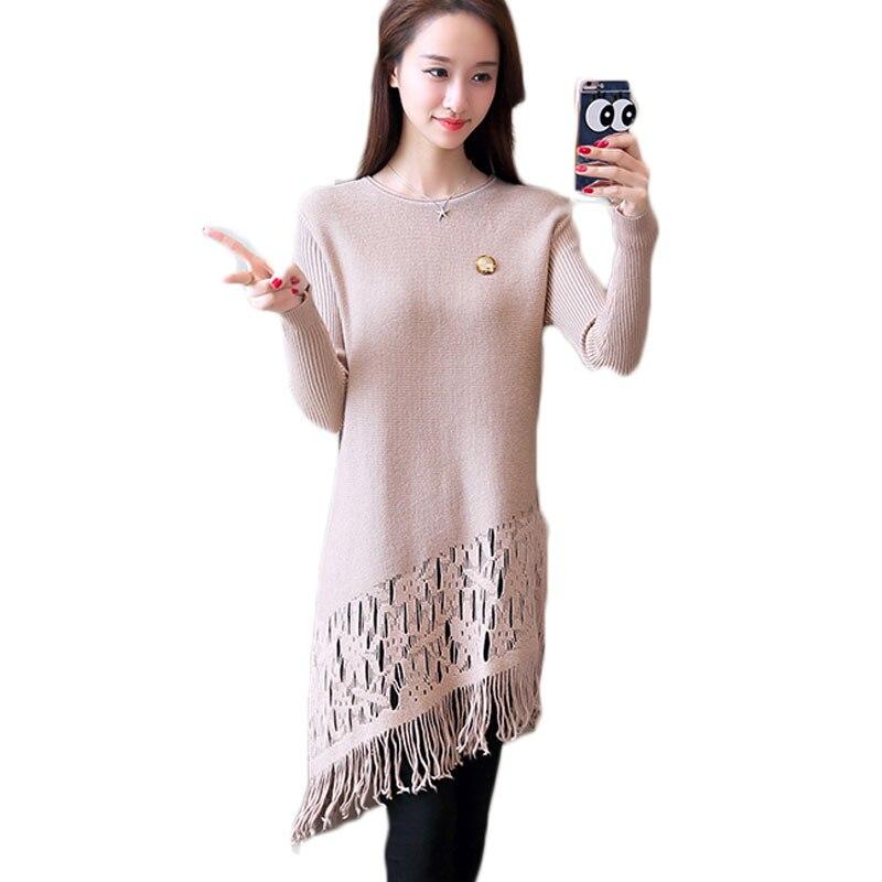 Version de haute qualité de la jupe à tricoter nouvel hiver évider à la mode gland tricot laine robe long pull femmes haut