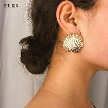 SHIXIN Minimalist Cute Stud Earrings for Women Gold/Silver Metal Sea Shell Summer Beach Scallop Seashell Earings Ladies