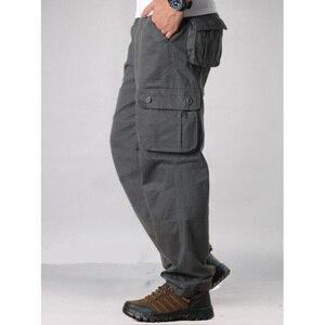 Image 4 - Męskie spodnie Cargo męskie dorywczo wiele kieszeni taktyczne spodnie wojskowe mężczyźni znosić proste spodnie długie spodnie duże rozmiary 42 44