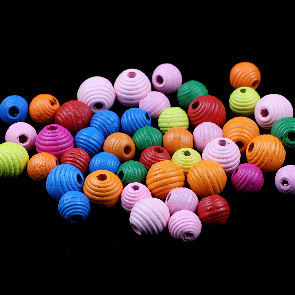 BTFBES Thread Beehive Wooden Beads 12/16mm 30Pcs DIY Round Wood Loose Spacer Bead for Jewelry Making Crafts Kids Toys Teething