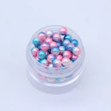 3/4/5/6/8mm Light Blue Colorful Multicolor No holes Round Imitation Garment Pearl For Fashion Jewelry Making 13#