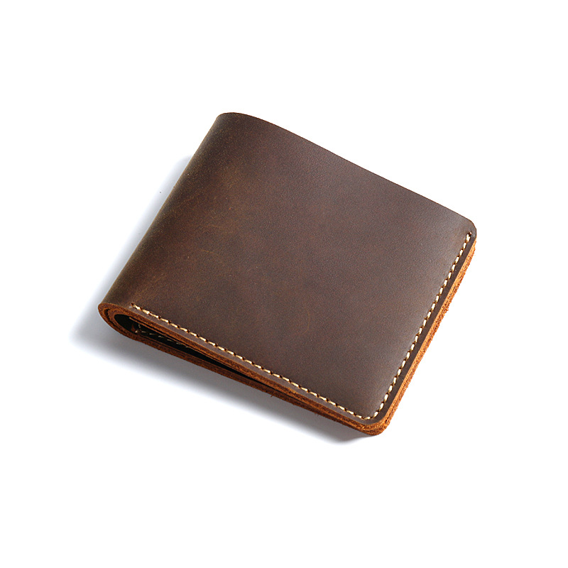 Men Genuine Leather Wallet 100% Real Leather men Casual Bifold Slim Crazy Horse Leather Short Wallet ID Card Money Holder Purse men casual wallet pocket coin id cards money holder clutch bifold slim purse
