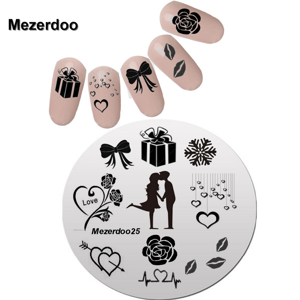 Kekasih Nail Stencils Pretty Valentine Nail Art Polish Stamping Plates Round Stainless Steel Rose Heart Nail Plates Mezerdoo25