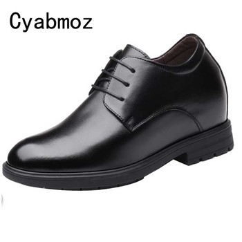 Height increasing 10cm Men Dress shoes Black Split Leather Wedding shoes Business Men Elevator Hidden Wedges Heels Male Shoes