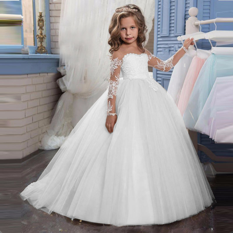 Transparent Long Sleeves Holy Communion Dresses Teen Costume Children's Clothing Party Baby Flower Girl Ball Gown Princess Dress