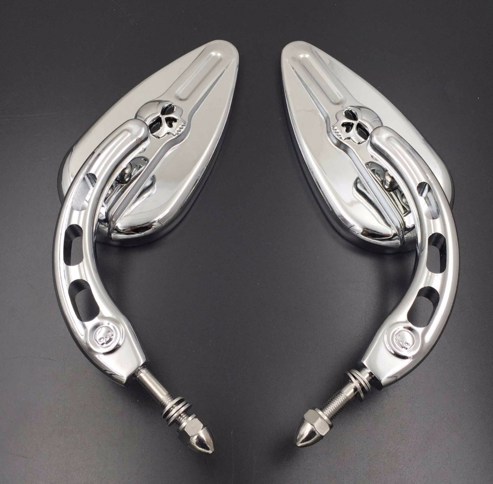 harley mirrors skull motorcycle davidson accessories retroviseur side aftermarket shipping mirror chrome 1982 later motorcycles moto models