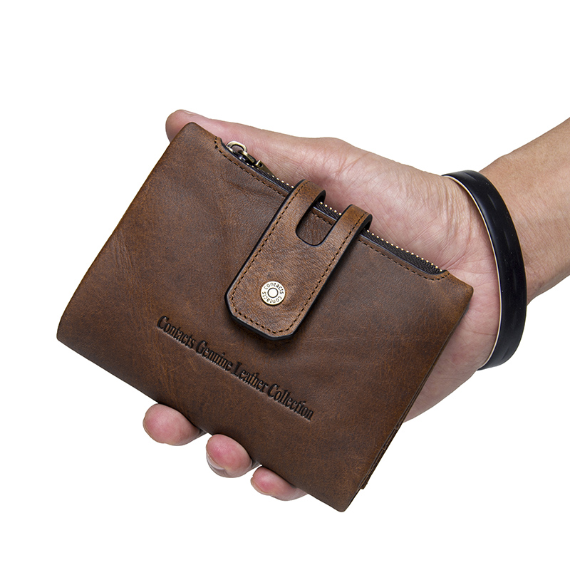CONTACT'S Wallet Crazy Horse Genuine Leather Double Zipper Hasp Wallets Short Coin Purse With Card Holders Male portomonee Walet 5