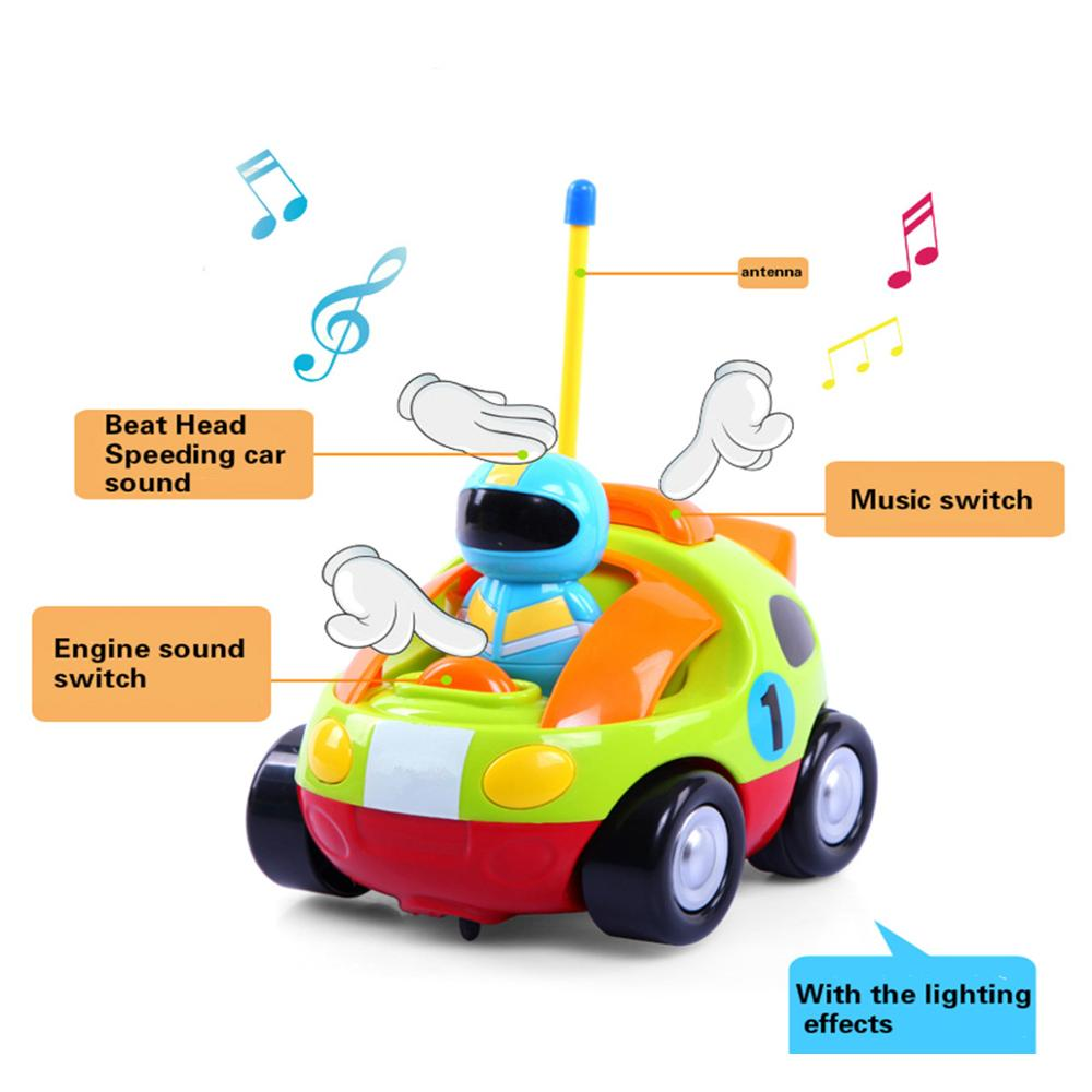 1xcartoon rc race car radio control toy with sounds music flashing headlights for toddlers and kids