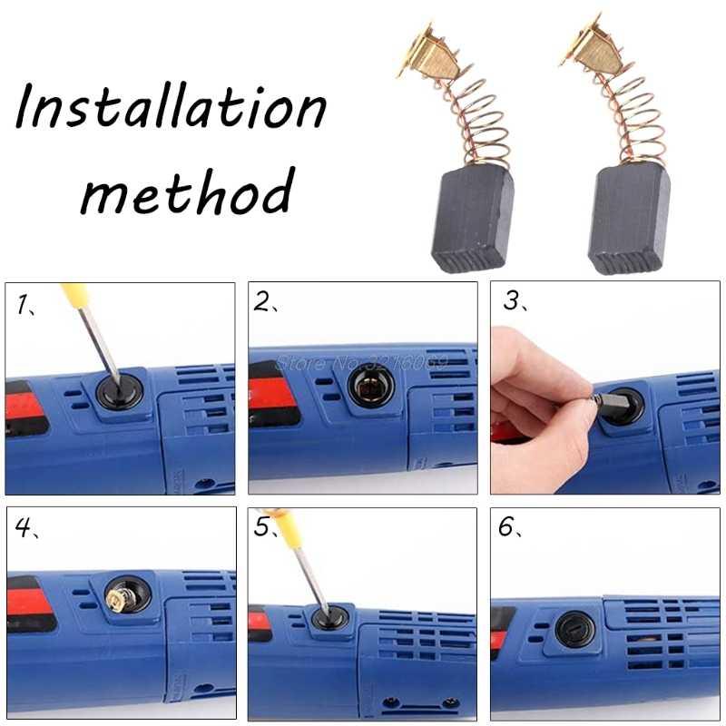2Pcs Bor Listrik Carbon Brush Spare Part untuk DeWalt/untuk Bosch/untuk Makita Electrictool 6X10X15 Mm 103 # Whosale & Dropship