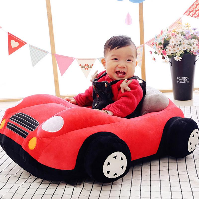 Bébé sièges bande dessinée voiture forme canapé soutien siège bébé en peluche soutien chaise apprendre à s'asseoir doux en peluche jouets voyage siège de voiture