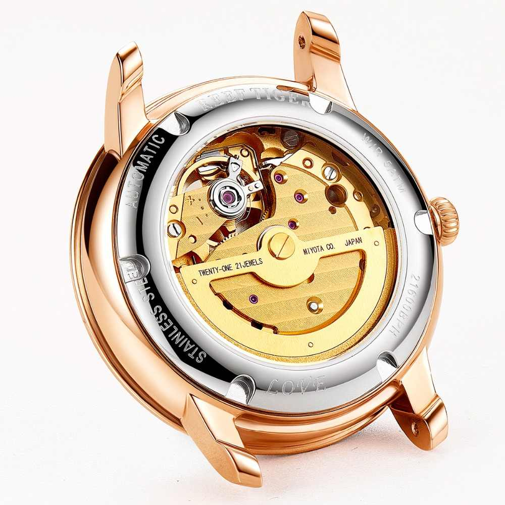 96fe2b217 ... Reef Tiger/RT 2018 New Fashion Women Watch Automatic Watches Leather  Strap Rose Gold Diamond ...