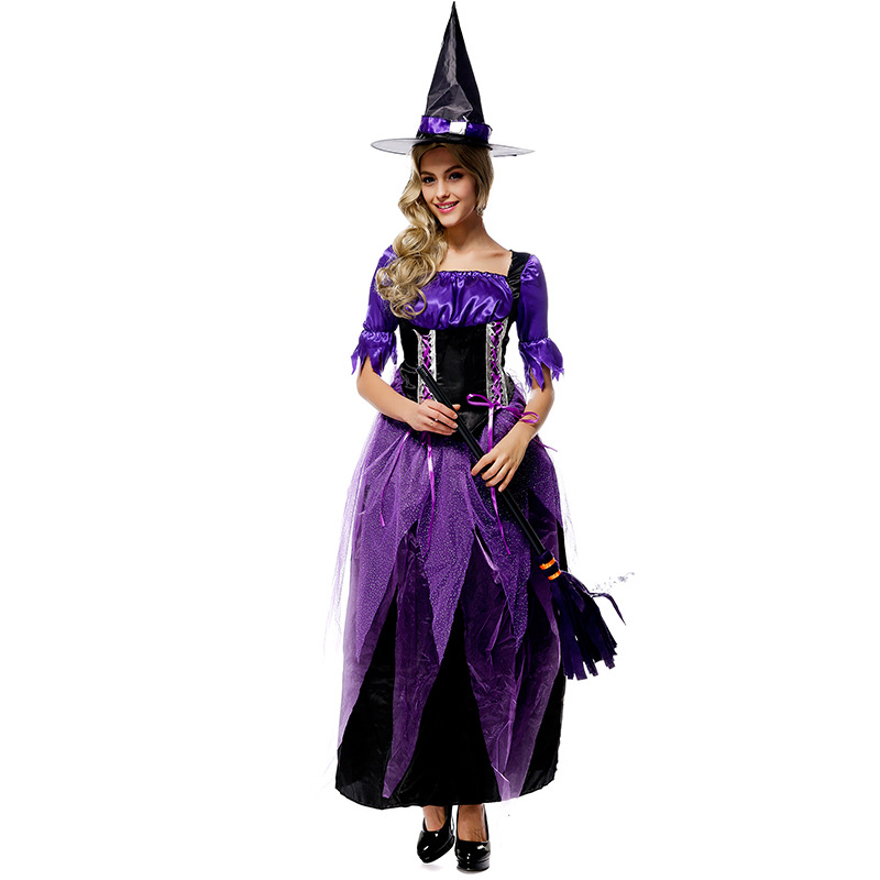 High Quality Luxury Purple Witch Costumes Broomstick Babe Witch Costume Fantasia Masquerade Halloween Party Costume for Women