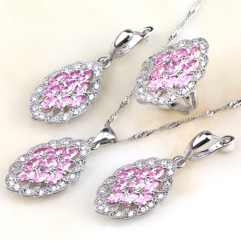 2017 New Stone Pink Stone Created Zircon 925 Sterling Wedding Jewelry Sets For Women Earrings rings