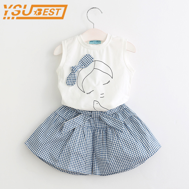 2-7yrs Children Suits Baby Girls Clothing Sets 2018 Summer Fashion Kids Clothes Girls Sleeveless T shirts + Plaid Short Pants new fashion summer kids girls clothing sets cotton sleeveless polka dot strap girls jumpsuit clothes sets outfits children suits