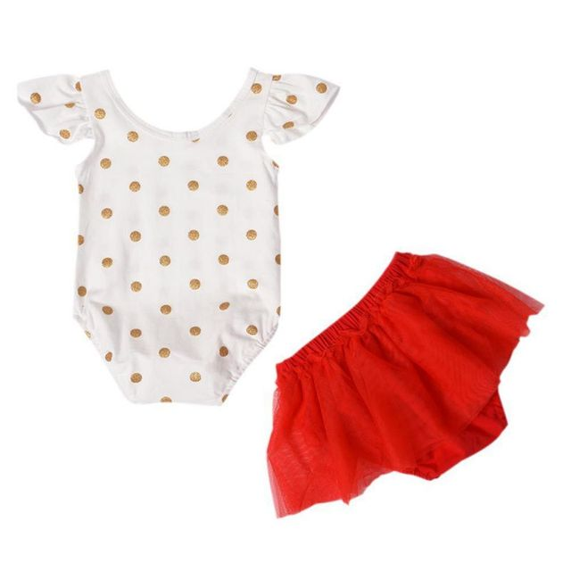 595fff8e6b2 2Pcs Set ! Newborn Baby Girl Clothes Set Summer Polka Dot Romper + Red Tutu  Skirt Princess Girls Party Clothes Outfit