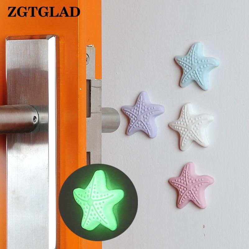 ZGTGLAD 1 шт. Световой силиконовая ручка двери ручка ночлега защитить стены самоклеющиеся стене Стикеры для детей номеров стены декор