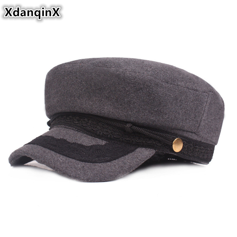 XdanqinX Winter Warm Womens Hat Elegant Army Military Hats Snapback Flat Cap For Women 2019 New Style Bone Female Caps