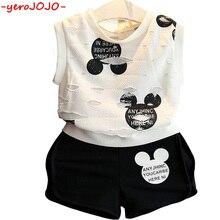 2018 New Fashion Boys Cute Mickey Suit Set Kids 2-7 Years Boy Short-sleeved Cartoon Printed T-shirt Shorts Children Clothes Set