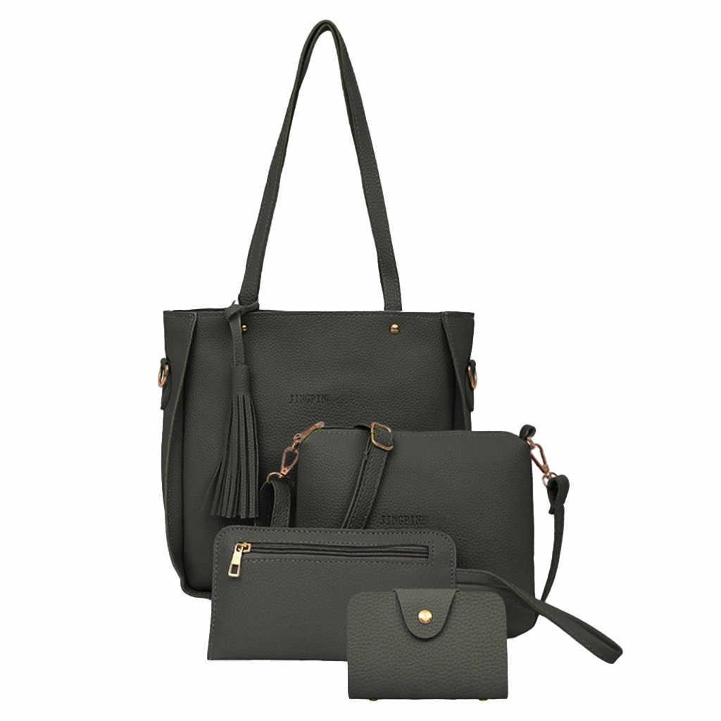 455f747f2f5 4 Sets Bags For Woman Shoulder Handbag Tote Purse Leather Ladies Brand  Messenger luxury handbags women designer shoulder bag#5$