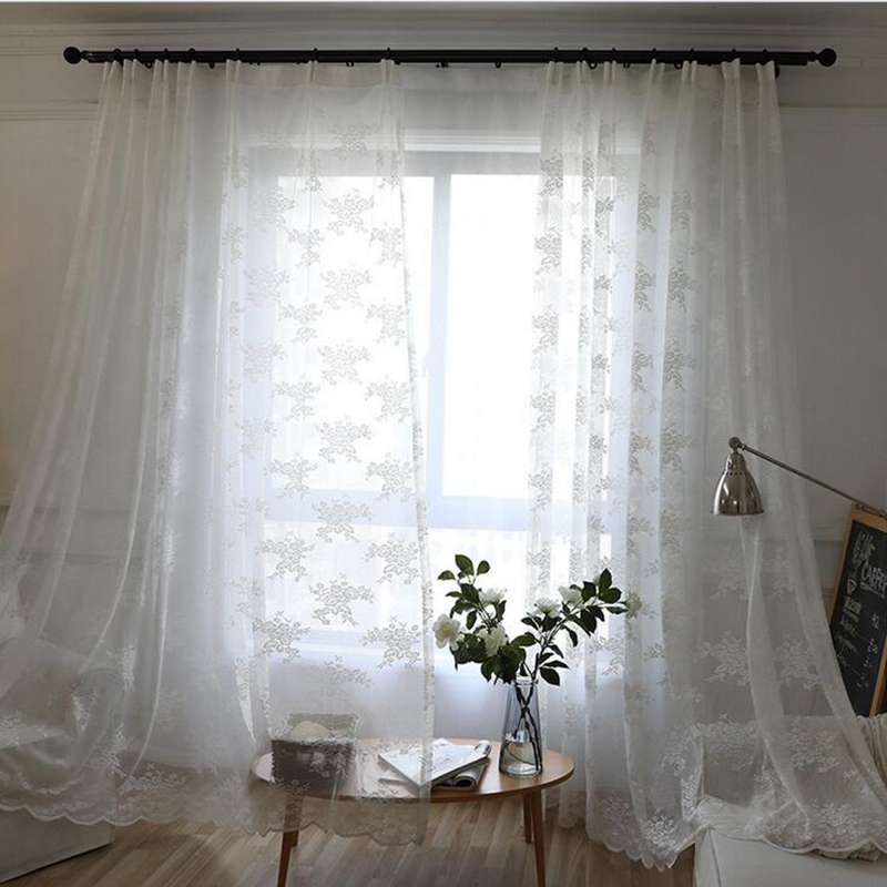 White korean mesh flowers window screens curtains for living room white korean mesh flowers window screens curtains for living room warp knitting embroidery lace tulle curtains panles my068 30 in curtains from home mightylinksfo