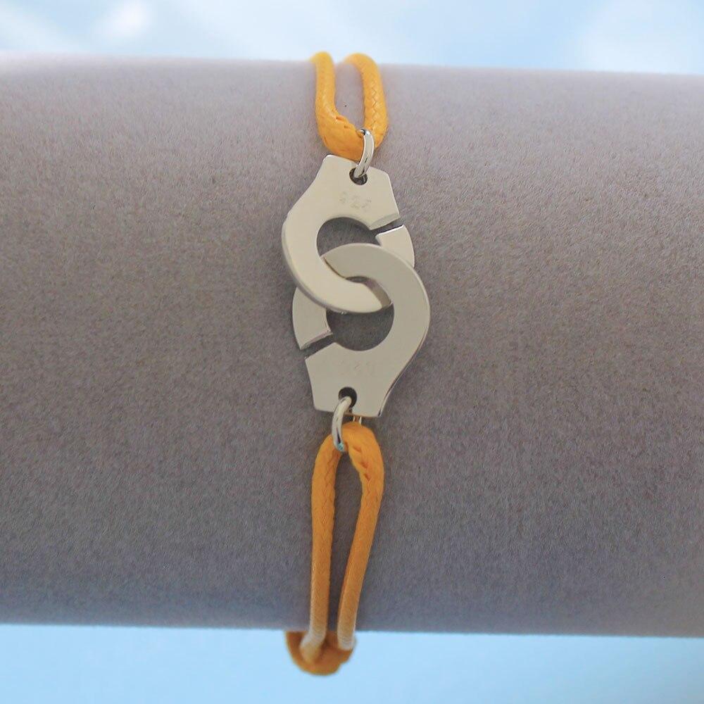 Мужские ювелирные изделия из стерлингового серебра 925 браслет наручники для женщин Bijoux с регулируемой веревкой 925 Серебряный кулон браслет для мужчин - Окраска металла: YW