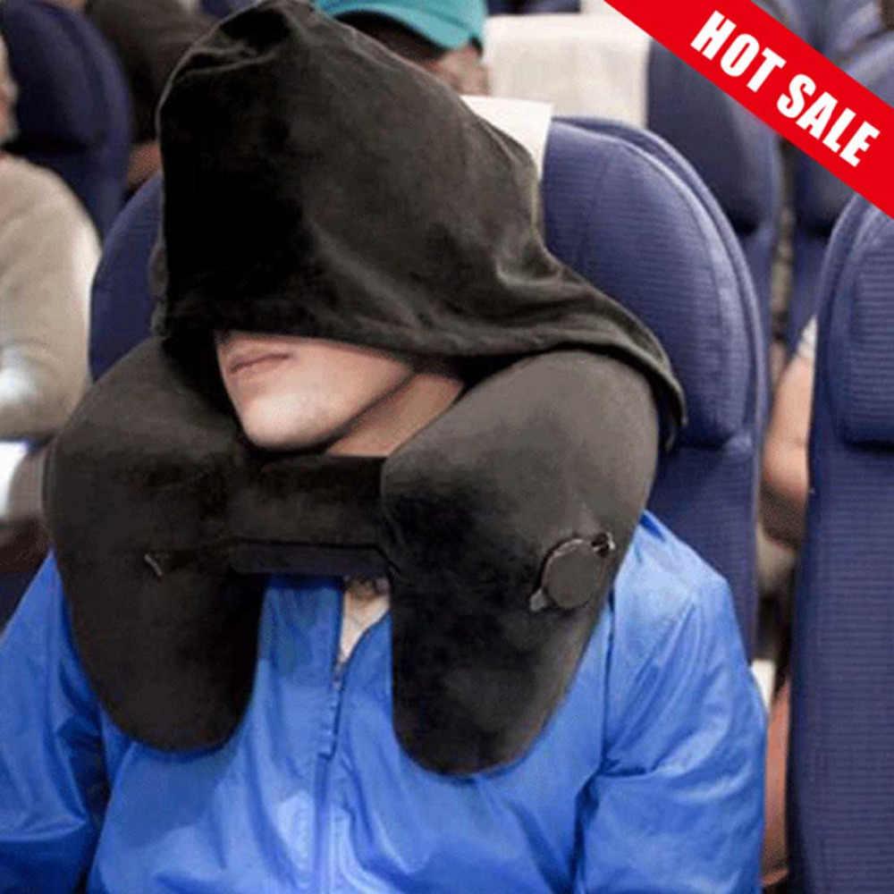 H-Bentuk Perjalanan Udara Bantal Tiup Lipat Bantal Leher Portable Perjalanan Bisnis Perjalanan Bantal untuk Pesawat Mobil dengan Hood