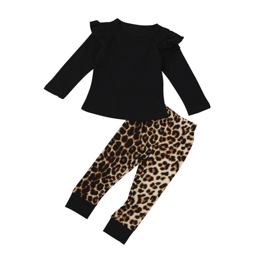 f622ee6a7bb81 2018 Fashion Hot Sale Newborn Infant Baby Girl Leopard Long Sleeve Tops+ Pants Outfits Clothes
