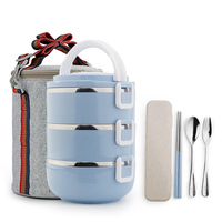 Stainless Steel Insulated Thermal Bento Lunch Boxs Picnic Food Storage Container Kids Student Portable Lunchbox Japanese