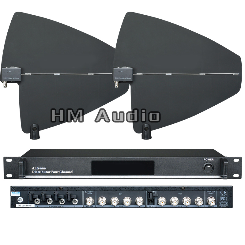 UA945 4 Channel Antenna Distributor 500-950MHz Frequency For Wireless Microphone extend 400Meters Directional Antenna