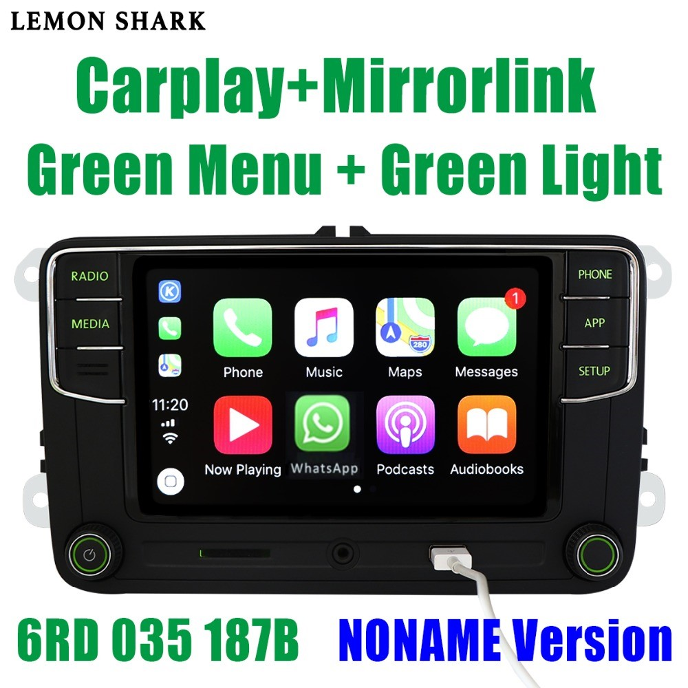 <font><b>RCD330</b></font> Plus RCD330G Carplay MIB Car Radio <font><b>Noname</b></font> Green Button RCD 330G 6RD 035 187B 187 b RCD510 For Skoda Superb Octavia Fabia image