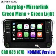 Rcd330 mais rcd330g carplay mib rádio do carro noname botão verde luz rcd 330g 6rd 035 187b 187 b para skoda superb octavia fabia