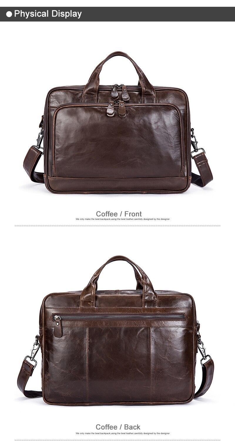MVA Genuine Leather Briefcase Laptop men's bags Messenger Shoulder Bags Men's Leather bag Briefcases Laptop Crossbody Bags 8979