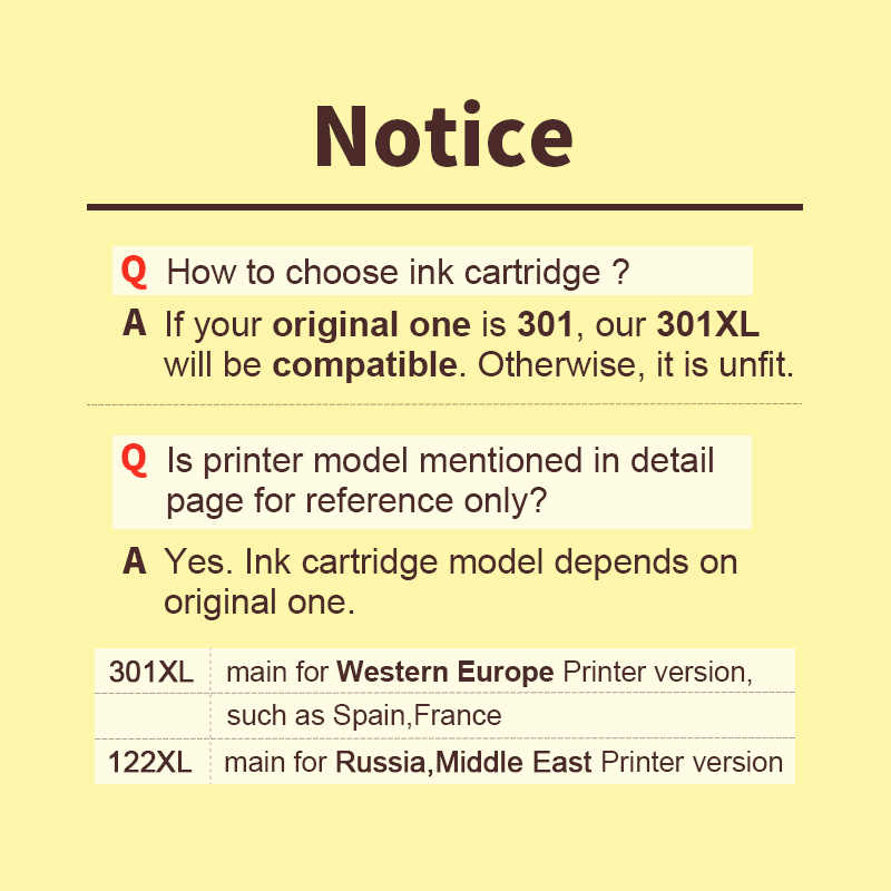 HWDID 301XL Refill Ink Cartridge Replacement for hp/HP 301 for hp/HP301 for Deskjet 1000 1050 2000 2050 2510 3000 3054 printer