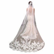Romantic Wedding Veil Cathedral Length Lace Edge Soft Tulle Sheer Long Bridal Veil with Comb 3 Meters veu de noiva longo 2017(China)