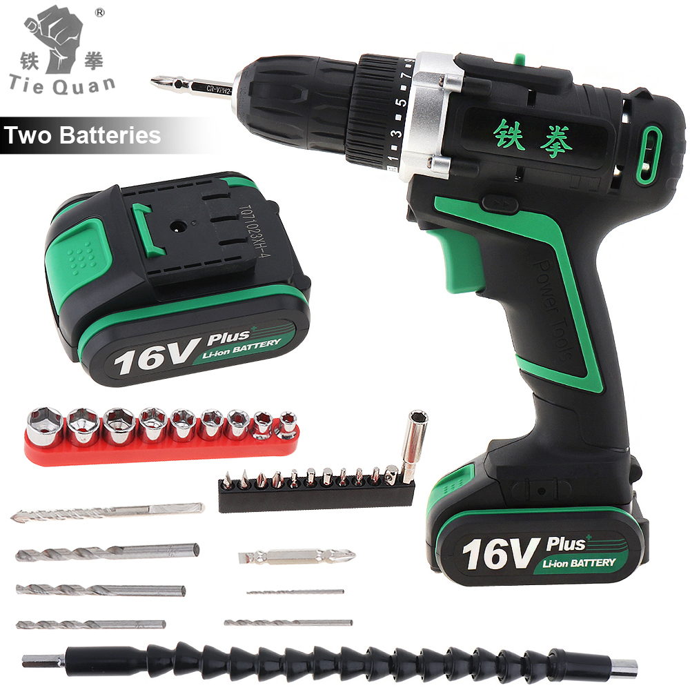 100 - 240V Cordless <font><b>16V</b></font> Plus Electric Drill with 2 Lithium <font><b>Batteries</b></font> and 29pcs Accessories Set for Handling Screws / Punching image