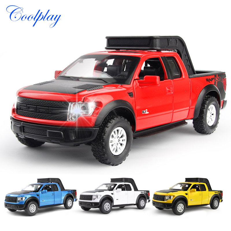 1:32 Scale Diecast Model Car For Ford F150 Raptor Flashing & Musical Toys Vehicles Pickup Trucks Alloy Car Toys for Kids )