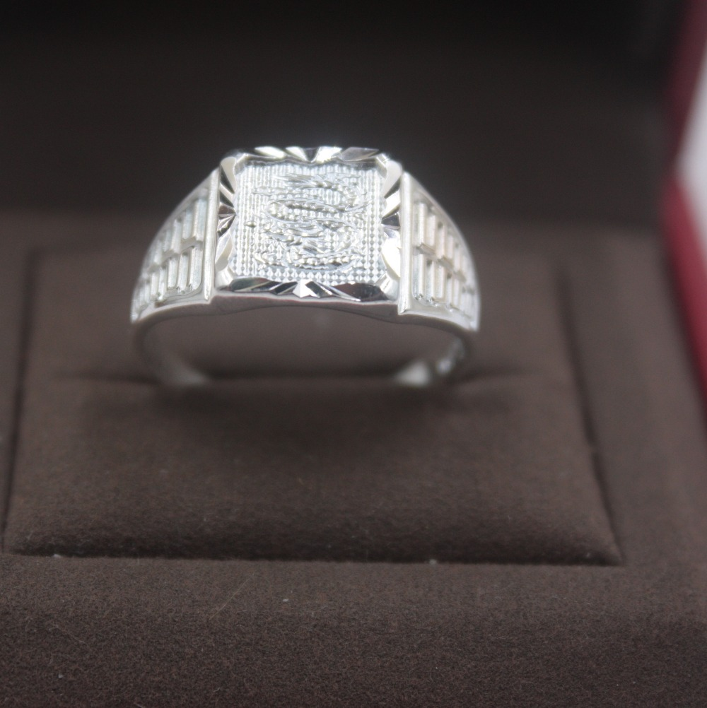 Fashion Pure S999 Silver 12mmW Unique Square Man's Success Dragon Ring US Size 5-9 Elegant Fashion New Ring