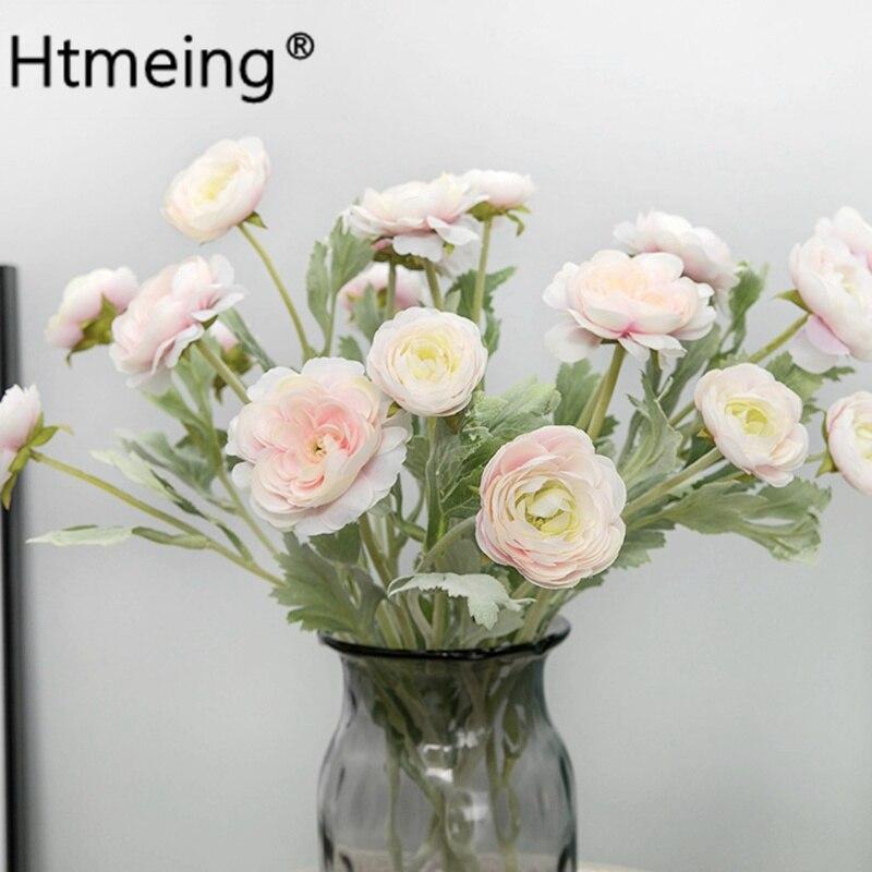 Diy Wedding Flowers Ideas: 1PCS Artificial Ranunculus Flowers Rose Bush Silk Flowers