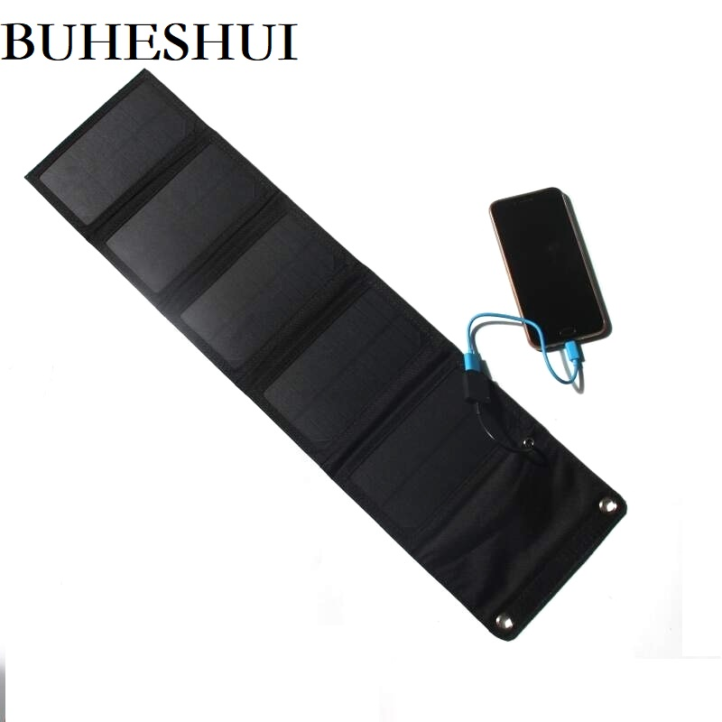 BUHESHUI <font><b>10W</b></font> <font><b>5V</b></font> Foldable <font><b>Solar</b></font> <font><b>Panel</b></font> Charger Portable <font><b>Solar</b></font> Battery Chargers Charging for Phone Hiking Outdoors Free Shipping image