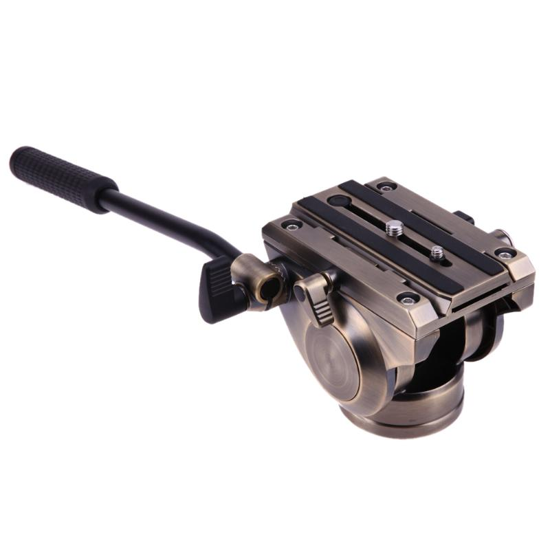 Fluid Drag Head, Professional Tripod Fluid Head with Quick Release Sliding Plate for DSLR Camera puluz heavy duty video camera tripod action fluid drag head with sliding plate for dslr