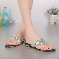 2017 New Women S Shoes Summer Flip Flops Slippers Elegant Handmade Flowers Women Flat Sandals Silver