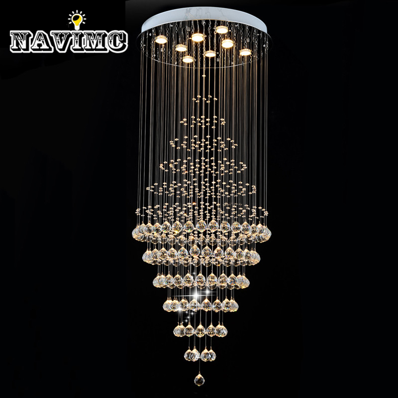 Round LED Chandelier Light Clear K9 Crystal Lighting Hanging Lamps Fixtures with D60CM H180CM Ac 100 to 240v LED Source