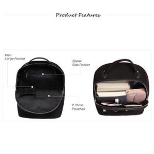 Image 4 - Women Genuine Suede Leather Backpack Female Casual Leisure Zipper Chains Nubuck Travel School Bag Teenager Girls Mochila