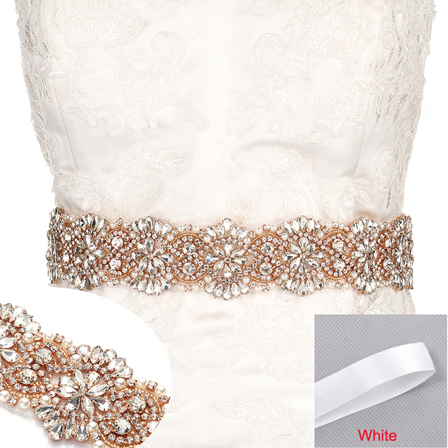 MissRDress Big Size Wedding Belt Rhinestone Bridal Sash Rose Gold Crystal  Bridal Belt For Wedding Evening Long Dress JK872 8190aa86ea47