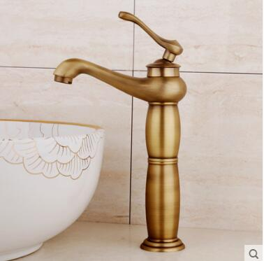 New Arrivals Antique Brass Gold Color Faucet Tall Bathroom Faucet Bathroom Basin Faucet Mixer Tap with Hot and Cold Sink Faucet  new arrivals chrome waterfall faucet tall bathroom faucet bathroom basin mixer sink tap with hot and cold sink faucet
