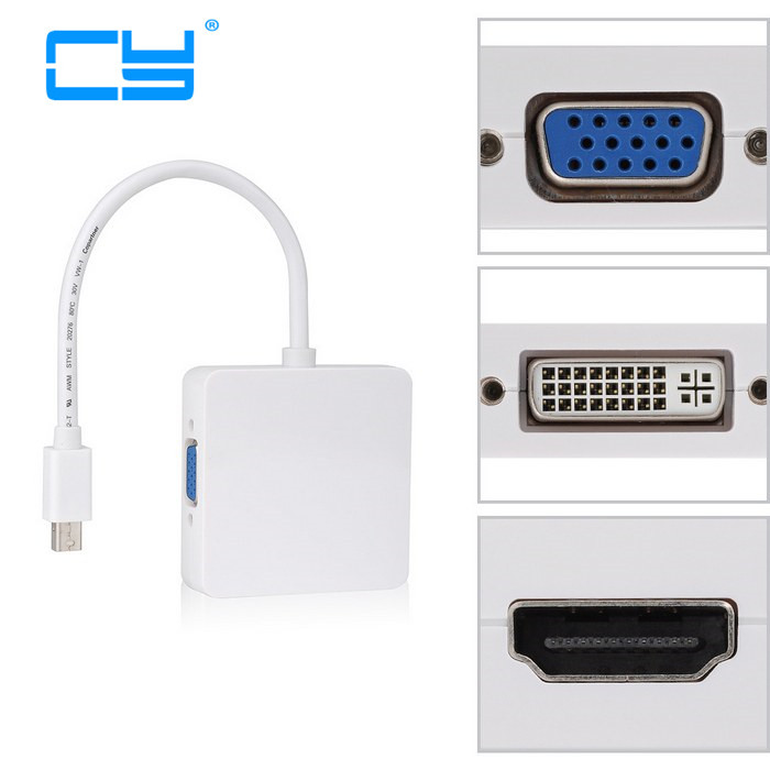 Mini DisplayPort to VGA HDMI DVI Adapter Cable Mini DP to HDMI Connector Mini DP 3 in 1 Converter For Macbook To Monitor TV 15cm