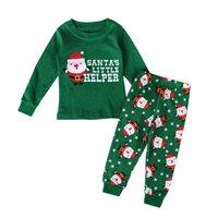 2pcs New Christmas Pyjamas Kids Childrens Pajamas Santa Claus Deer Printing Boy Girl Sleepwear Nightwear Holy
