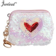 Junlead Sparkly Sequins Female Heart Love Cheap Coin Purse Pocket Change  Wallet For Women Key Chains 38307692d329